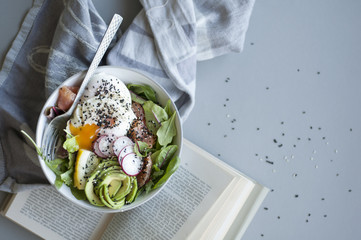 Paleo Breakfast Bowl with Poached Eggs, Avocado and Eggs
