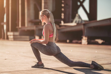 Sporty girl on street