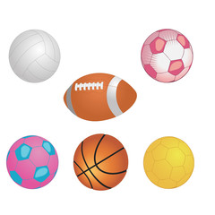 Different game balls In the big basket isolated on white