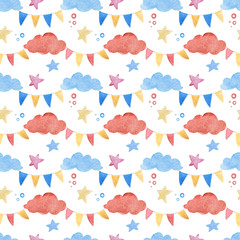 Watercolor illustrations of clouds, stars and Checkboxes. Cute seamless pattern.