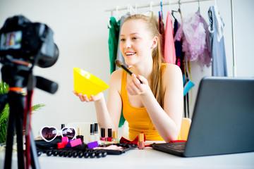 Female makeup blogger