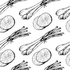 Vector hand drawn seamless pattern of sprouting onions and slcies. Farm vegetables. Engraved art. Organic sketched objects.