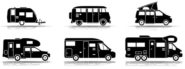 Camping - Verschiedene Wohnmobile (Schwarz)