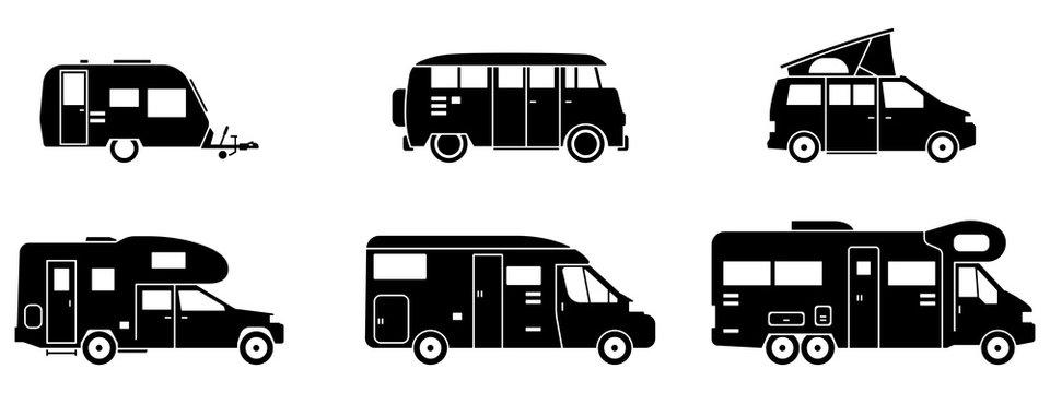 Camping - Verschiedene Wohnmobile (in Schwarz)