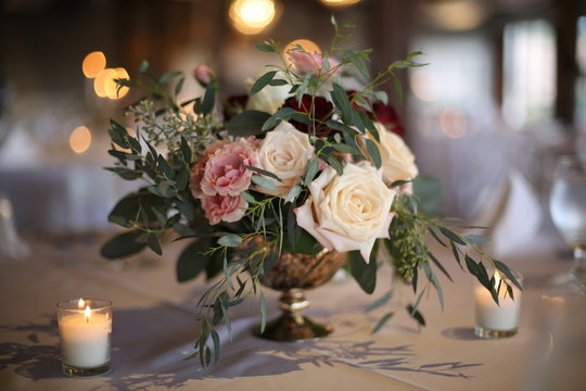 Elegant Wedding Decor Beautiful Pink, White, and Red Roses Centerpiece