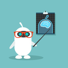Artificial intelligence conceptual illustration. Cute robot pointing at the x-ray image / flat editable vector illustration, clip art