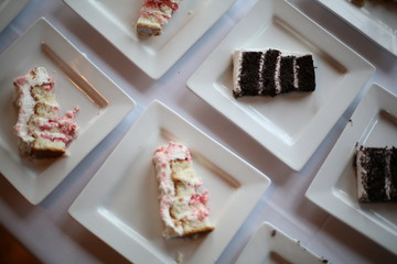 Slices of Different Flavors of Wedding Cake
