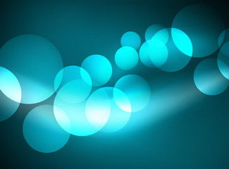 Shiny glowing glass circles, modern futuristic background template