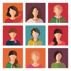 Young girls avatar icons set
