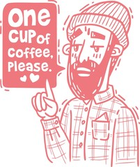 Bearded hipster orders one coffee pink