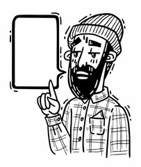 bearded hipster points with his finger up and says