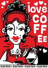 Comic poster beautiful woman drinks her morning coffee in bed