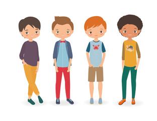 Stylish boys. Cartoon vector illustration