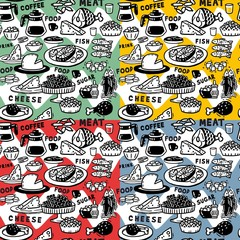 Food graphic pattern set