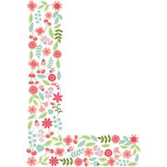 Vector floral letter L. Vector floral abc. English floral alphabet. Font vector illustration.