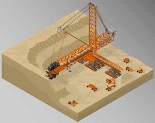 Vector isometric illustration of bucket-wheel excavator, heavy equipment used in surface mining, sand quarry development and involving machinery. Equipment for high-mining industry.
