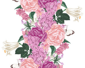 seamless border with spring flowers