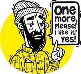 Portrait of a bearded hipster pointing a finger up and saying one more please yellow