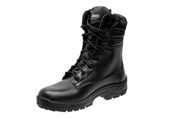 Black military leather boots isolated on white