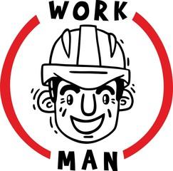 work man in safety helmet logo