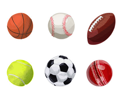 Set of sport balls. Hand drawn VECTOR illustration. Basketball, baseball, rugby ball, tennis ball, soccer ball, cricket ball.