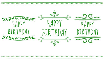 HAPPY BIRTHDAY card templates.. VECTOR labels. Green on white.