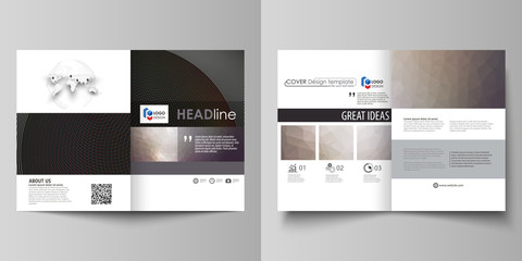 Business templates for bi fold brochure, flyer, booklet, report. Cover design template, vector layout in A4 size. Dark color triangles and colorful circles. Abstract polygonal style modern background.
