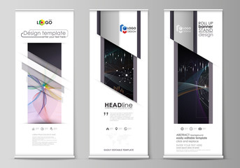 Roll up banner stands, geometric design templates, business concept, corporate vertical vector flyers, flag layouts. Colorful abstract infographic background with lines, symbols, other elements.