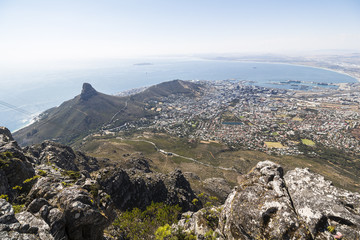 View on Cape Town from top of the table mountain