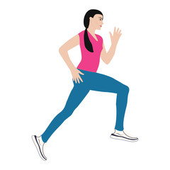 Sporty girl running, isolated on white background. Artistic creative vector illustration of a modern minimalist flat style