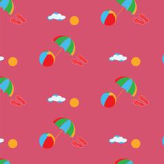 Pattern summer trip inflatable ball umbrella flip flops sun cloud background color art abstract modern creative vector