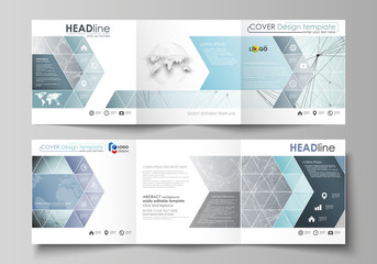 Set of business templates for tri fold square design brochures. Leaflet cover, abstract vector layout. Chemistry pattern, connecting lines and dots, molecule structure, scientific medical DNA research