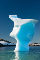 Very unusual tall iceberg in Antarctica. Looks like a human head.