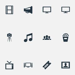 Vector Illustration Set Of Simple Cinema Icons. Elements Plasma Monitor, Viewers, Pass And Other Synonyms Orator, Note And Screen.
