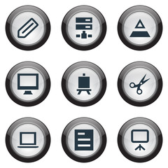 Vector Illustration Set Of Simple UI Icons. Elements Blueprint, Sheet, Easel And Other Synonyms Sheet, Computer And Text.