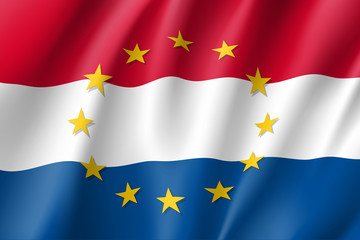 The Netherlands national flag with a circle of European Union twelve gold stars, solidarity and harmony with EU, member since 1 January 1958. Realistic vector style illustration