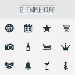 Vector Illustration Set Of Simple Celebration Icons. Elements Holiday Tree, Bells, Drink Bottle And Other Synonyms Earth, Decoration And Cocktail.