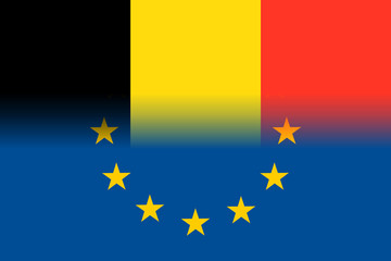 Belgium national flag with a flag of European Union twelve gold stars, solidarity and harmony with EU, member since 1 January 1958. Vector flat style illustration