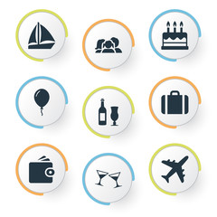Vector Illustration Set Of Simple Holiday Icons. Elements Airplane, Balloon, Cocktail And Other Synonyms Wine, Joy And Cash.