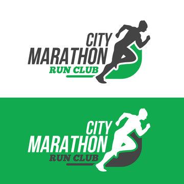Running man silhouette, marathon
