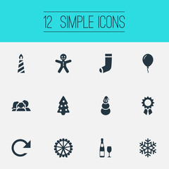 Vector Illustration Set Of Simple Christmas Icons. Elements Candle, Ice Man, Champion Rosette Synonyms Champagne, Winter And Carouse.