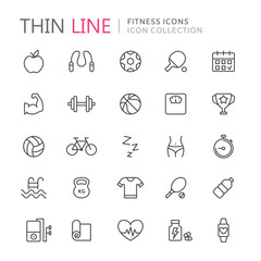 Collection of sport thin line icons