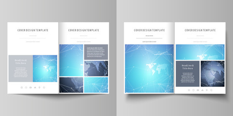 The minimalistic vector illustration of the editable layout of two A4 format modern covers design templates for brochure, flyer, report. Abstract global design. Chemistry pattern, molecule structure.