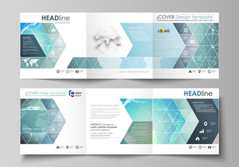 The minimalistic vector illustration of editable layout. Two modern creative covers design templates for square brochure or flyer. Chemistry pattern, molecule structure, geometric design background.