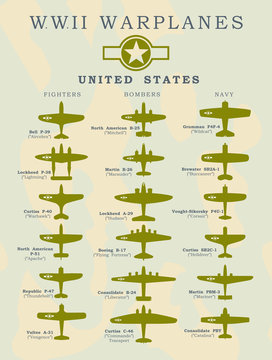 World War II warplanes in vector silhouette line illustrations by coutries United States, North America