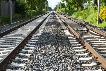 Eisenbahnschienen, Zugverkehr in Schleswig-Holstein, Deutschland