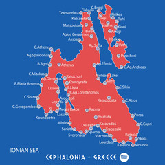 island of cephalonia in greece red map illustration