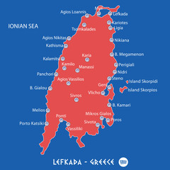 island of lefkada in greece red map illustration