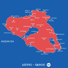 island of lesvos in greece red map illustration