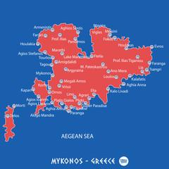 island of mykonos in greece red map illustration